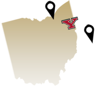 Youngstown State is located between Pittsburgh and Cleveland