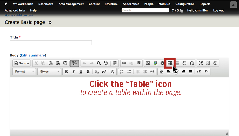 Click the table icon in toolbar to create a table within the page.