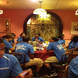 At a restaraunt during Summer Program 2013