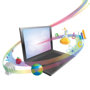 Laptop computer surrounded by colorful swirl made of academic graphics.