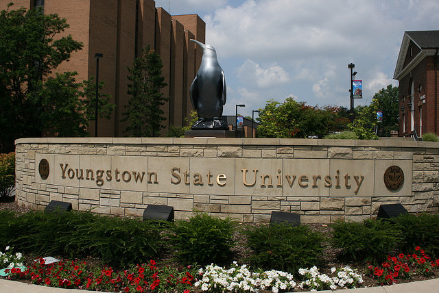 Youngstown State University main entrance on university plaza