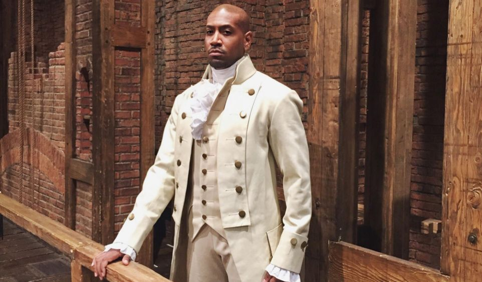 Bryan Terrell Clark in costume for his role as George Washington in the Broadway musical Hamilton
