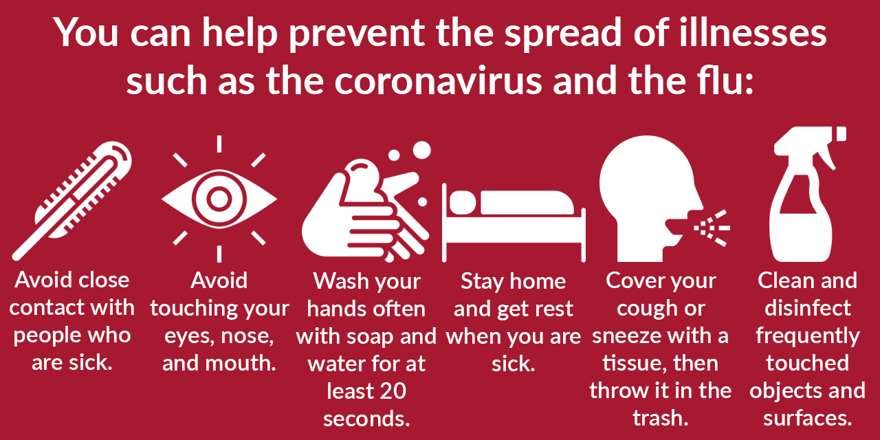 You can help prevent the spread of illnesses such as coronavirus and the flu: Avoid close contact with people who are sick. Avoid touching your eyes, nose, and mouth. Wash your hands often with soap and water for at least 20 seconds. Stay home when you are sick. Cover your cough or sneeze with a tissue, then throw it in the trash. Clean and disinfect frequently touched objects and surfaces.