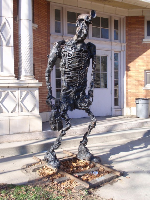 """Coal Miner"" is among three new scrap metal sculptures being installed outside the  Youngstown Historical Center for Industry and Labor on Wood Street."