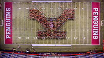YSU football field with Y spelled out with people