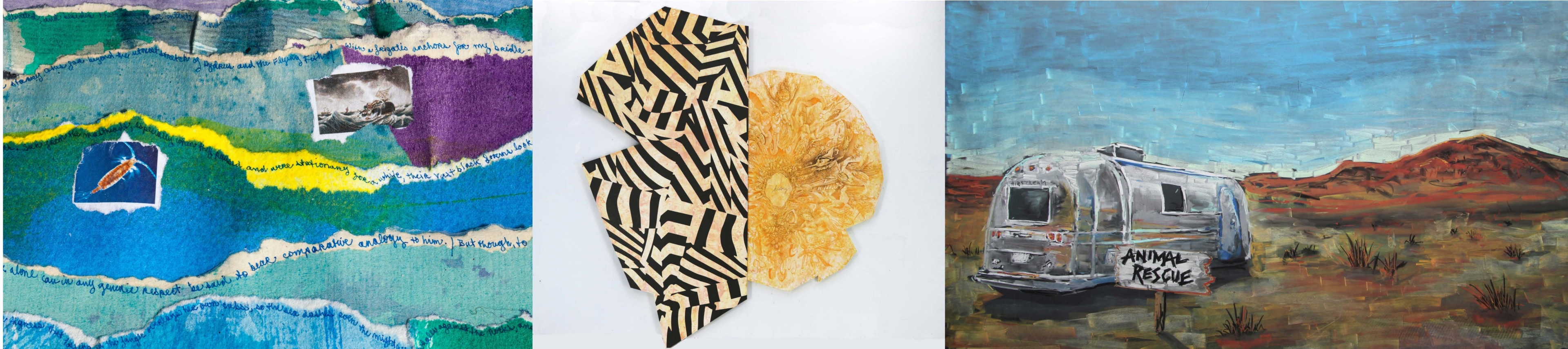 """3 paintings. First is cool blue with aquatic images. Second is black and white polygonal contrasted with what appears to be dried fruit. The third is a barren landscape with a trailer in the foreground accomponied by a sign reading """"animal rescue"""""""
