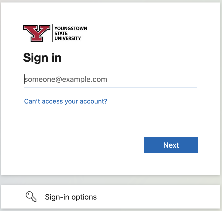 Type in your YSU email address