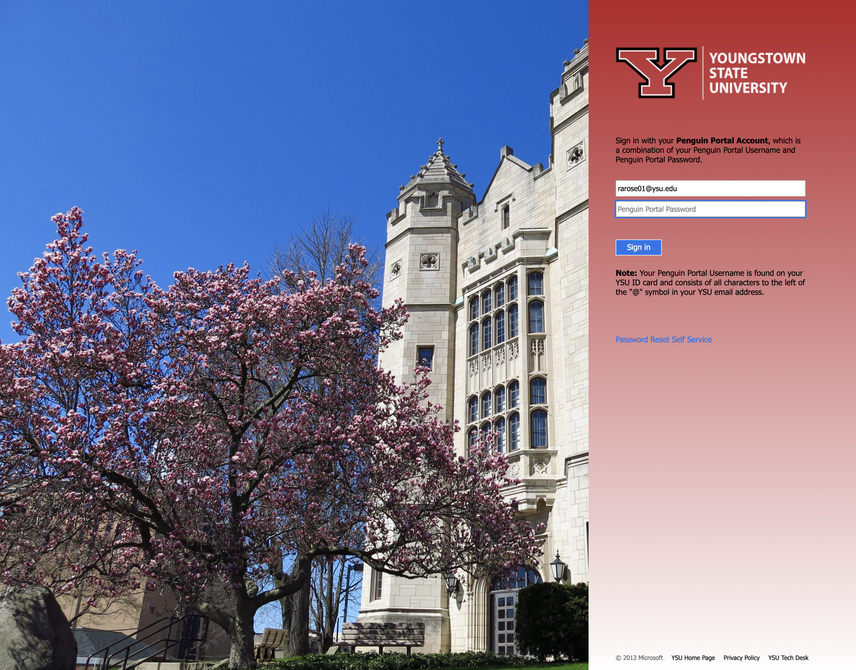 You will be re-directed to sign in with your YSU username and password. Sign in.