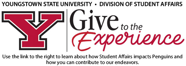 Give to the Experience use link to the right to learn about how student affairs impacts penguins and how you can contribute to our endeavors