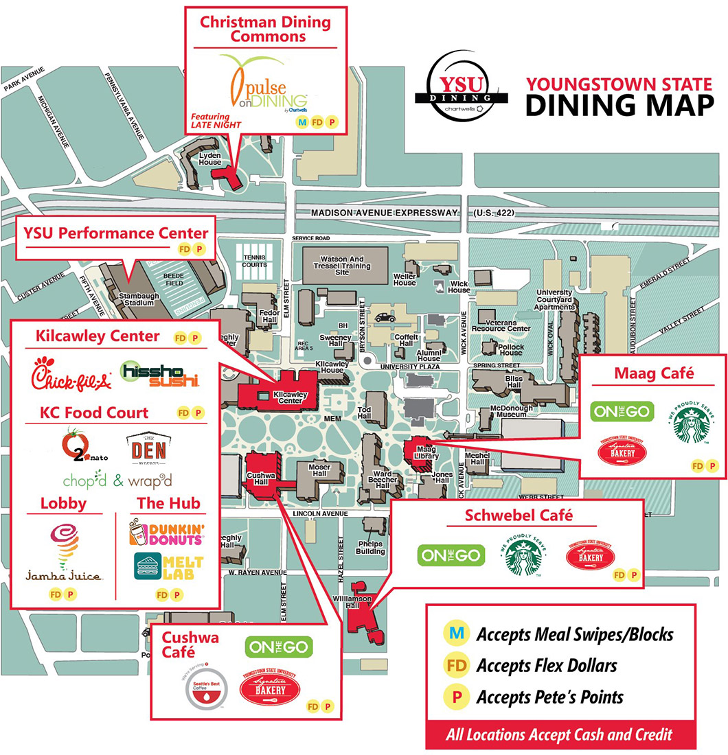 Map of restaurant locations on YSU Campus