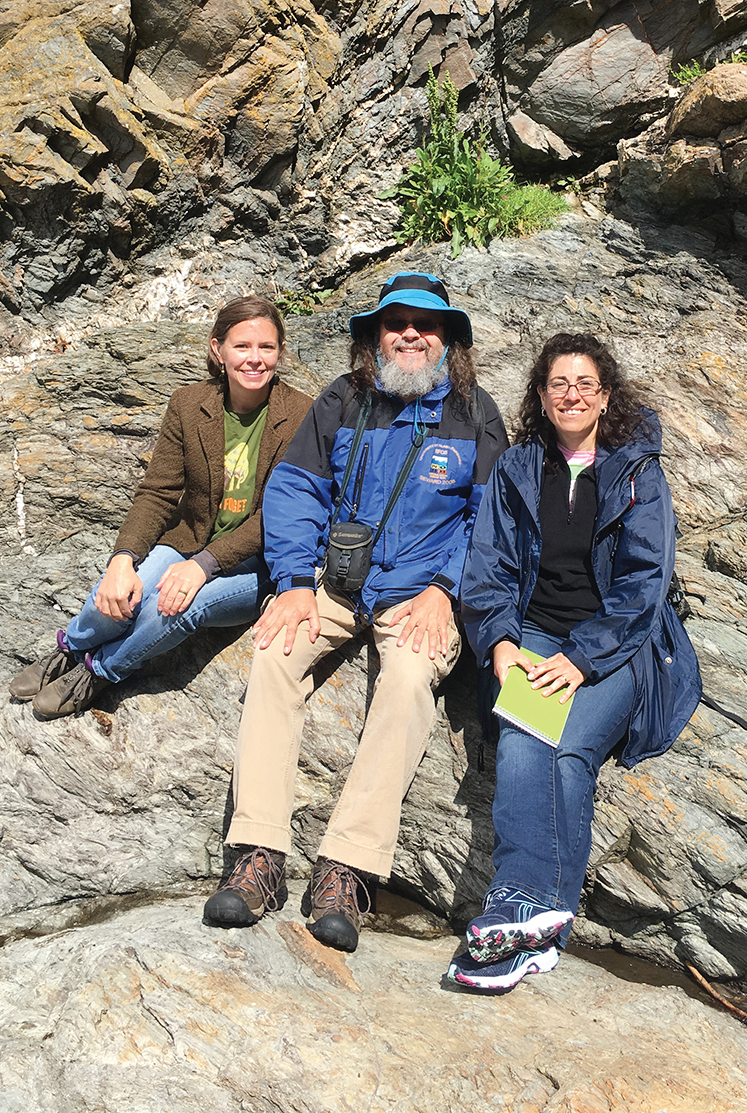 Faculty members Colleen McLean, Ray Beiersdorfer and Felicia Armstrong explored the island's Niarbyl Fault. The narrow white line is the only known visible section of the Iapetus Suture between the former Laurentia and Avalonia paleocontinents over 400 million years ago.