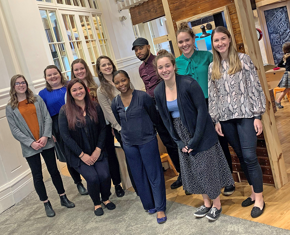 Student participants in the project with the Children's Museum were, back row, Kate Landry, Amanda Paynter, Briana McGuire, Shannon Arnim, Cliff Hill, Morgan Conley, and front row, Kelly Hyden, Khiana Jeanniton, Alyssa Lutker and Leah Tekac.