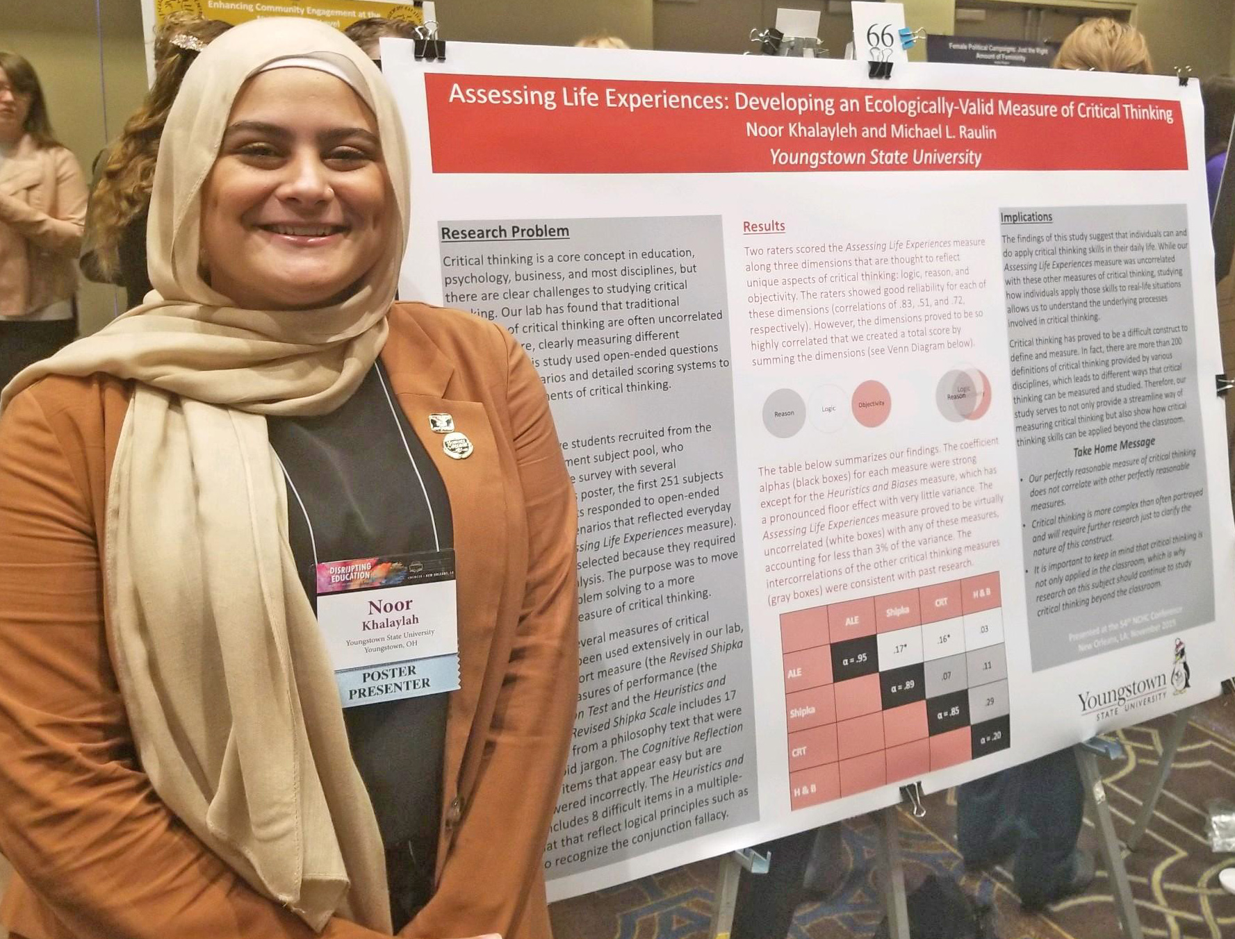 YSU student Noor Khalayleh with her winning research at the National Collegiate Honors Council Conference in New Orleans