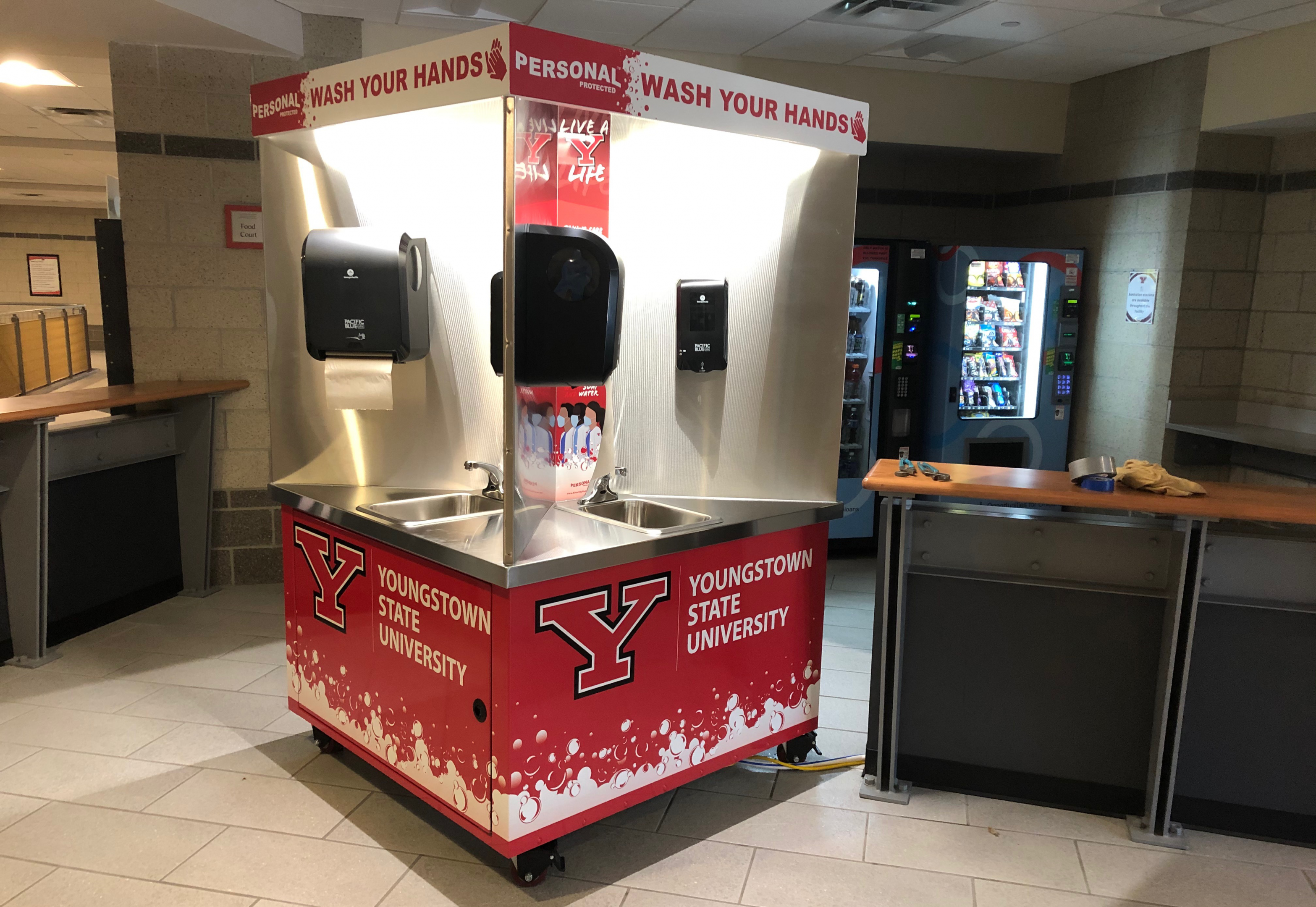 The new YSU branded handwashing stations that will be available across campus in the fall