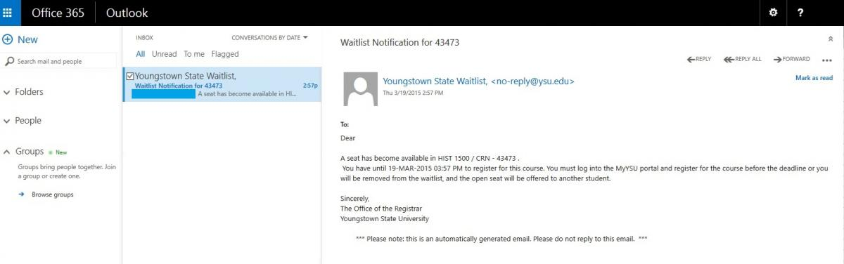 Email received regarding your waitlisted class becoming available.