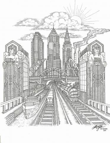 A black and white drawing of a city with a train and boat and two Egyptian sculptures on the sides of two buildings