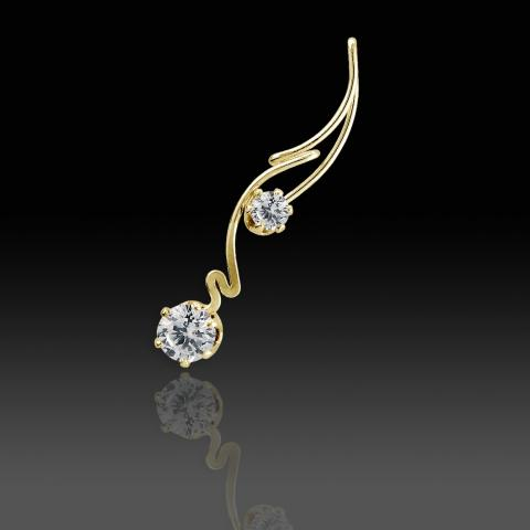 A gold pin with two white diamonds