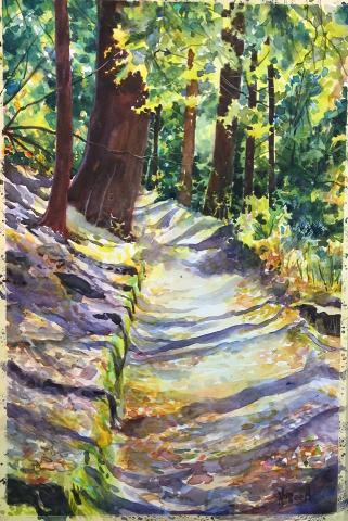A painting of a trail in the woods with the trees hanging low