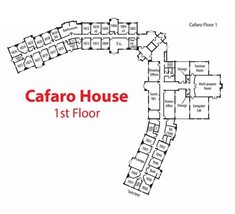Floorplan of 1st floor of Cafaro House