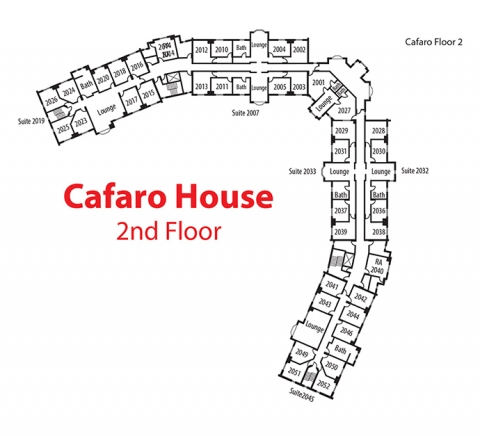 Floorplan of 2nd floor of Cafaro House