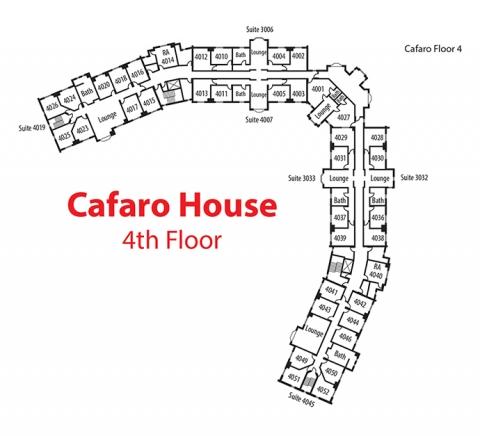 Floorplan of 4th floor of Cafaro House
