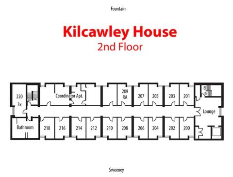 Floorplan of 2nd floor of Kilcawley House