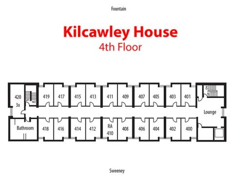 Floorplan of 4th floor of Kilcawley House