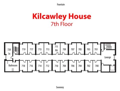 Floorplan of 7th floor of Kilcawley House