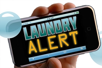 Cell phone in hand with Laundry Alert log on screen