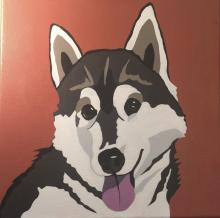 A painting of a husky dog with his tongue out