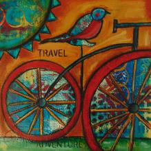 painting of a bird on a bike