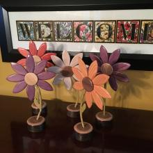 Painted wooden flowers