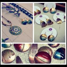 Three photos of handmade jewelry