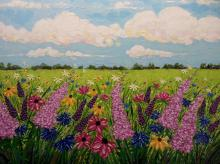 painting of field with flowers