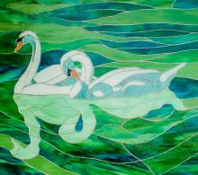 Stained glass swans swimming