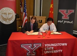 YSU and Chengdu Tech University sign agreement.