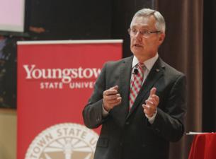 YSU President Jim Tressel giving a speech