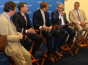 President Jim Tressel participates in a panel discussion on Capitol Hill