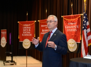 President Tressel addresses the audience during the 2018 State of the University Address