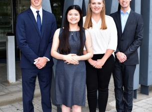 YSU students, from the left, Ryan Sheffield, Alanis Chew, Jenna Binsley and Richard Fisher, has been