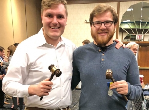Carson Markley and David Hofsess posing for a picture with their gavel's