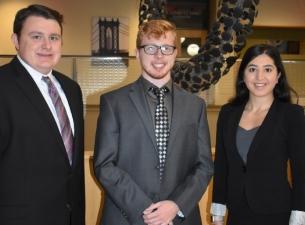 YSU Monus Fellows, from the left, Richard Salmen, Jeremy Keillor and Alyssa Covert.