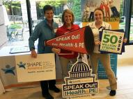 "YSU ""Speak Out"" Day delegation: Dr. M. La Vine, Jessica Hyde and McKenzie Stelter"