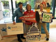 "YSU ""Speak Out"" Day delegation: Dr. M. La Vine, Jessica Hyde and McKenzie Stelter"