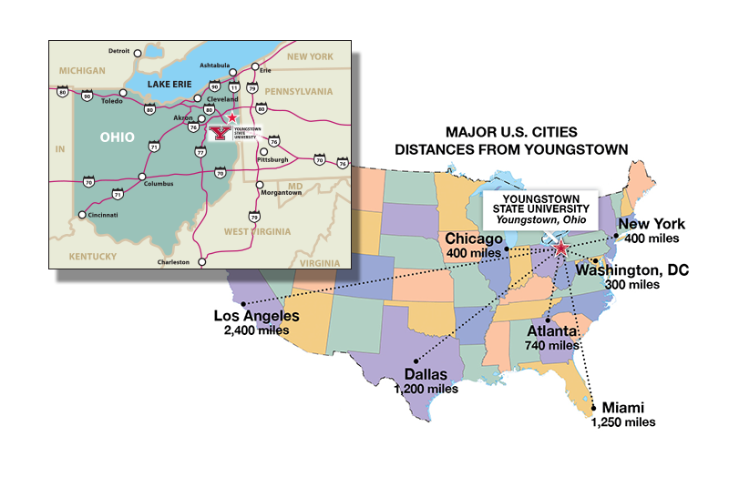 Distance between YSU and popular cities in the United States