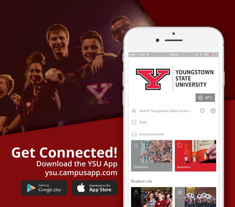 A poster advertising the YSU campus app with a red background and photo of male students cheering in the stands at the football stadium