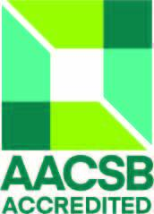 "AACSB accreditation logo that is used on websites to show accreditation. Logo is light green and dark green in color and reads ""AACSB Accredited"""