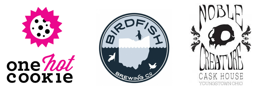 One hot cookie, bird fish brewing co.and noble creature logos