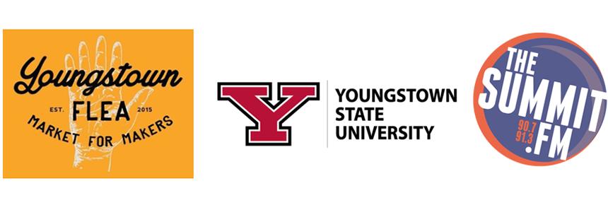 Youngstown flea, YSU and summit fm logos