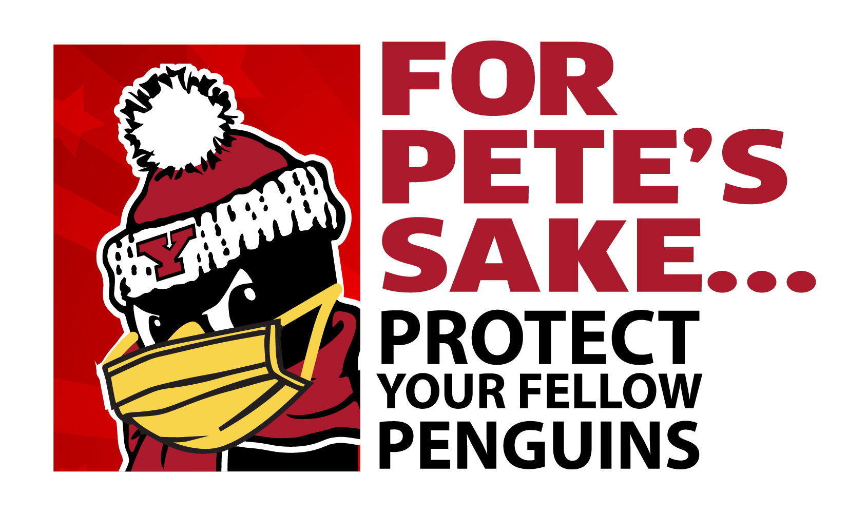 for pete's sake logo (pete in a face covering)